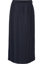 Adam By Adam Lippes Plisse Satin And Crepe Wrap Skirt Navy