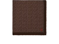 Isaia Dotted Cotton Silk Pocket Square Brown