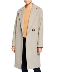Fleurette Wool Asymmetric One Button Midi Coat Neutral Pattern