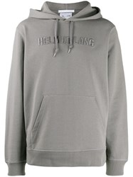 Helmut Lang Embroidered Logo Hoodie Grey