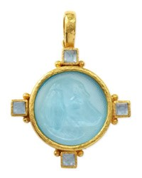 Elizabeth Locke Hound Head Antique 19K Gold Intaglio Pendant Light Aqua