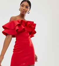 True Violet Exclusive Exaggerated Frill Bandeau Midi Dress In Red
