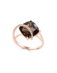 Effy Diamond Smoky Quartz And 14K Rose Gold Ring