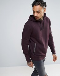 Asos Hoodie With Biker Detail And Zip Pockets Moussaka Purple