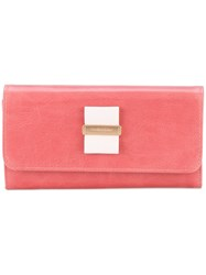 See By Chloe Bow Foldover Continental Wallet Women Cotton Calf Leather One Size Pink Purple