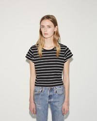 Re Done Stripe Boxy Tee Black White