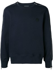Alexander Mcqueen Embroidered Skull Sweatshirt Blue