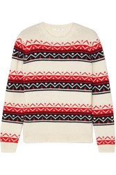 Chinti And Parker Fair Isle Cashmere Wool Blend Sweater Cream