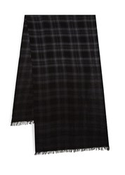 John Varvatos Plaid Merino Wool Scarf Black