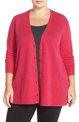 Plus Size Women's Sejour Wool And Cashmere Trapeze Cardigan Pink Bright