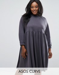 Asos Curve Cotton Smock Dress With Elastic Cuff Detail Slate Grey