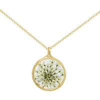 Catherine Weitzman 18Ct Gold Plated Small Round Queen Anne's Lace Flower Pendant Necklace Gold White