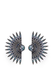 Lulu Frost 'Beacon' Glass Crystal Pave Fan Stud Earrings Blue Metallic