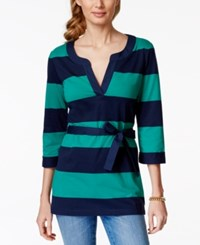 Tommy Hilfiger Striped Belted Tunic Top