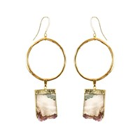 Tiana Jewel Amethyst Gold Hoop Earrings Sari Collection