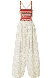Ulla Johnson Razi Embroidered Printed Linen And Cotton Blend Jumpsuit Off White