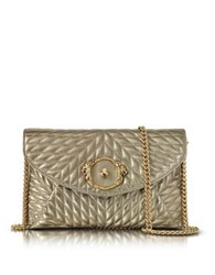 Roberto Cavalli Star Metallic Quilted Nappa Leather Envelope Bag Platinum