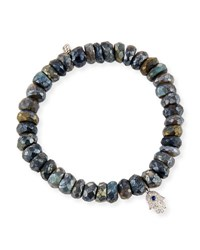 Sydney Evan 8Mm Labradorite Beaded Bracelet With Diamond And Sapphire Hamsa Charm Gray