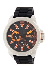 Hugo Boss Men's New York Silicone Strap Watch Black
