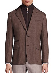 Corneliani Virgin Wool And Cashmere Textured Jacket Dark Beige