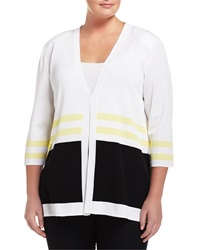 Misook Striped 3 4 Sleeve V Neck Jacket White Black Yellow