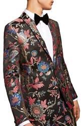 Topman Classic Fit Floral Print Suit Jacket Black Multi