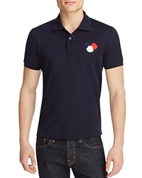 Moncler Triple Logo Slim Fit Polo Shirt Navy