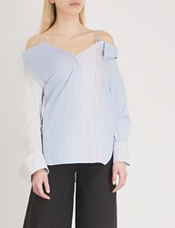 Moandco. Cold Shoulder Striped Cotton Shirt Blue And White