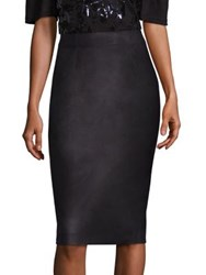 Rebecca Taylor Faux Leather Pencil Skirt Black