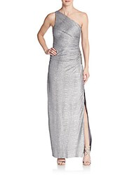 Laundry By Shelli Segal Ruched Metallic Foil One Shoulder Gown Silver