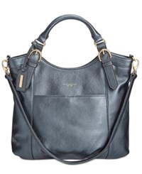 Tignanello Pebble Leather Eliana Tote Midnight Metallic