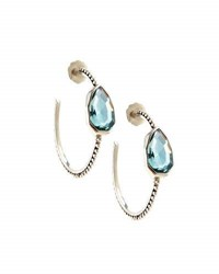 Stephen Dweck Sterling Silver And Aqua Quartz Cathedral Hoop Earrings