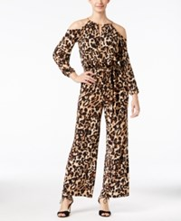 Thalia Sodi Leopard Print Cold Shoulder Jumpsuit Only At Macy's
