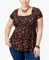 American Rag Trendy Plus Size Floral Print Babydoll Top Only At Macy's Classic Black Combo