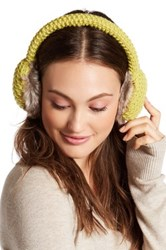 Collection Xiix Waffle Knit Faux Fur Earmuff Green