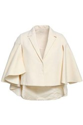 Delpozo Cape Effect Cotton Jacquard Jacket Ivory