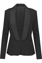 Karl Lagerfeld Nadya Satin Trimmed Stretch Ponte Blazer Black