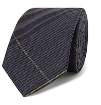 Berluti 7Cm Checked Wool And Mulberry Silk Blend Tie Blue