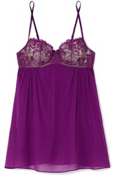 I.D. Sarrieri Embroidered Silk Blend Tulle And Chiffon Underwired Chemise Violet