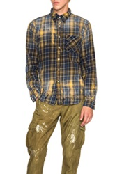 Nsf Axel Button Down Shirt In Blue Checkered And Plaid Yellow