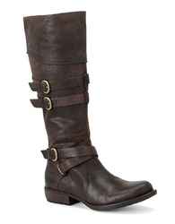 Born Odom Buckle Riding Boots Dark Brown