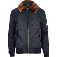 River Island Mensnavy Blue Borg Lined Aviator Jacket
