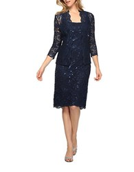 Alex Evenings Petite Sequined Lace Jacket And Dress Set Navy