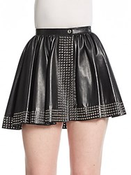 Azzedine Alaia Leather Wrap Skater Mini Skirt Black
