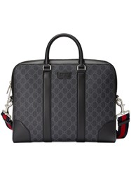 Gucci Gg Supreme Briefcase Unisex Cotton Leather Nylon Canvas Black