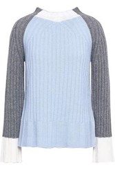 Piazza Sempione Woman Ribbed Color Block Wool And Cashmere Blend Sweater Sky Blue