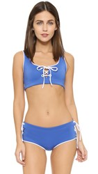 Clover Canyon Solids Lace Up Bikini Top Periwinkle