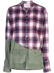 Greg Lauren Check Panel Shirt Multicolour