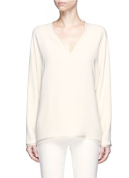 The Row 'Wilden' Frayed Trim Silk Crepe V Neck Top White