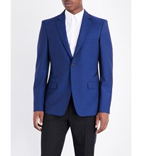 Alexander Mcqueen Tailored Wool And Mohair Blend Jacket Oxford Blue